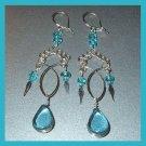 Beautiful Pair of Silver & Teal Blue Glass Beaded Chandelier Earrings