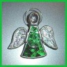 Vintage Pewter Handmade Pink & Green Foil Angel Pin Brooch