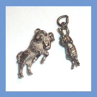 Lot of 2 Vintage Bracelet Charms Pewter Mother Mouse & Silver plated Aries Ram