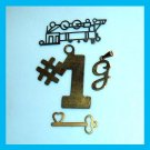 Lot of 4 Bracelet Charms Train Engine & Key and Heart & Letter G & Number 1