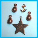 Lot of 5 Bracelet Charms - Make a Wish STAR - ANCHOR - Pear Shape Puffed Copper Charms