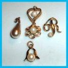 Lot of 5 Gold & Pearl Bracelet Charms - Heart - Flower - Bell - Tear Drop - Letter R