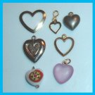 Beautiful Vintage Lot of 7 HEART Bracelet Charms