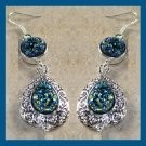 Beautiful Pair of Blue Red Gold Titanium DRUZY Round & Pear Sterling Silver Hook Earrings
