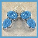 Light Blue Titanium DRUZY Crystals Oval and Pear shaped Sterling Silver Hook Earrings