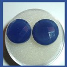 12.46ctw Pair of 2 BLUE CHALCEDONY Round Checkerboard Cut 12mm Faceted Natural Loose Gemstones