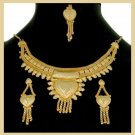 Yellow Gold Tone Bollywood Heart Necklace Earrings and Tikka Jewelry Set