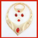 18K Yellow Gold Plated V Shape Red Crystal Necklace Earrings Bracelet Ring Jewelry Set
