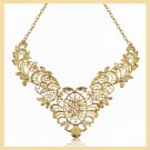 18K Yellow Gold Plated Flower Design Choker Necklace
