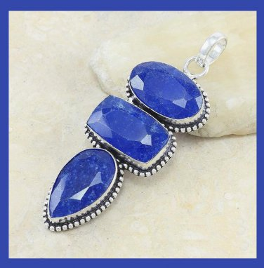 138.00ctw Natural Blue SAPPHIRE Pear & Oval & Rectangle Shaped Gemstone 925 Sterling Silver Pendant