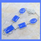 Blue CHALCEDONY Rectangle & Oval Shaped Gemstone 925 Sterling Silver Overlay Necklace
