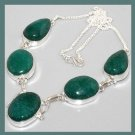 Natural Green EMERALD Oval & Pear Shaped Gemstone 925 Sterling Silver Overlay Necklace