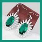 Green QUARTZ Oval Cut Gemstone 925 Sterling Silver Overlay Hook Earrings