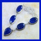 Natural SAPPHIRE Pear & Oval Shaped Gemstone 925 Sterling Silver Overlay Necklace