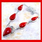 Red CORAL Pear Shaped Gemstone 925 Sterling Silver Overlay Necklace