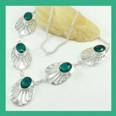 200.00 ctw Green TOPAZ Oval Shaped Gemstone 925 Sterling Silver Overlay Necklace