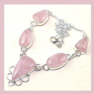 ROSE QUARTZ Pink Triangle & Oval Shaped Gemstone 925 Sterling Silver Overlay Necklace