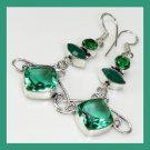 EMERALD & Green TOPAZ Marquise Oval Diamond Shaped Gemstone 925 Sterling Silver Hook Earrings