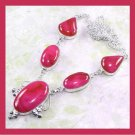 Red AGATE Oval Pear Shaped Gemstone 925 Sterling Silver Overlay Necklace
