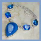 Blue TOPAZ & AGATE Pear & Rectangle Shaped Gemstone 925 Sterling Silver Overlay Necklace