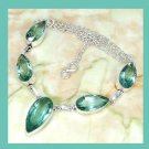 Blue Green QUARTZ Pear Shaped Gemstone 925 Sterling Silver Overlay Necklace