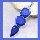 Natural Blue SAPPHIRE Pear & Oval & Square Shaped Gemstone 925 Sterling Silver Pendant