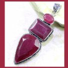 Natural Red RUBY Pear Rectangle Oval Shaped Gemstone 925 Sterling Silver Overlay Pendant