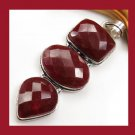 Natural Red RUBY Pear Oval Rectangle Shaped Gemstone 925 Sterling Silver Overlay Pendant