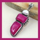 Natural RUBY & Biwa Pearl Freeform Rectangle Oval Shape Gemstone 925 Sterling Silver Overlay Pendant