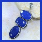 Natural Blue SAPPHIRE Oval & Rectangle Shape Gemstone 925 Sterling Silver Overlay Pendant