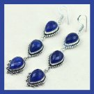Natural Blue SAPPHIRE 3 Tier Pear Cut Gemstone 925 Sterling Silver Overlay Earrings