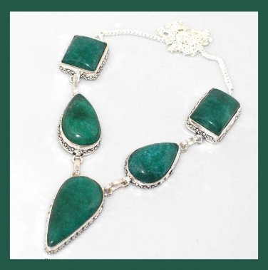 Natural Green EMERALD Pear & Square Shaped Gemstone 925 Sterling Silver Overlay Necklace
