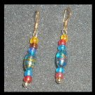 Chandelier Blue, Red, and Gold, Glass Beads in 1.5  inch 10K Yellow Gold Fish Hook Earrings