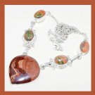 UNAKITE & PICTURE JASPER Pear Oval Cut Gemstone 925 Sterling Silver Overlay Necklace