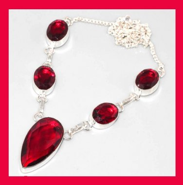 Red GARNET Pear & Oval Cut Gemstone 925 Sterling Silver Overlay Necklace