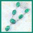 Green JASPER Oval Shaped Gemstone 925 Sterling Silver Overlay Necklace