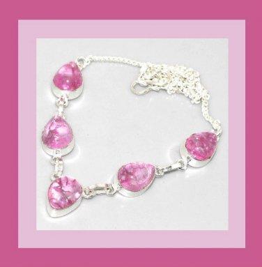 Pink Crackle QUARTZ Pear Shaped Gemstone 925 Sterling Silver Overlay Necklace