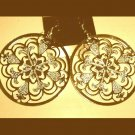 Round FLOWER Style 18K Yellow Gold Overlay 2 inch Chandelier Dangle Hook Earrings