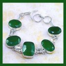 Green EMERALD Oval & Cushion Cut Faceted Gemstone 925 Sterling Silver Overlay Link Bracelet