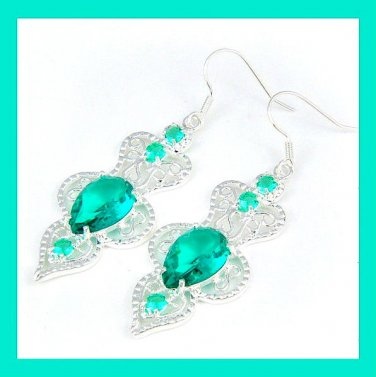 Green TOPAZ Pear & Round Faceted Gemstone 925 Sterling Silver Overlay Hook Earrings