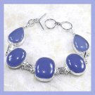 Blue CHALCEDONY Gemstone Oval Pear Cushion Cut Cabochon 925 Sterling Silver Overlay Link Bracelet