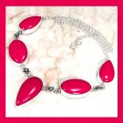 Red CORAL Pear & Oval Shaped Gemstone 925 Sterling Silver Overlay Necklace