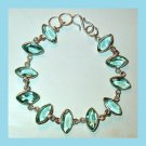 Swiss Blue TOPAZ Marquise Cut Faceted Gemstone 925 Sterling Silver Overlay Link Bracelet