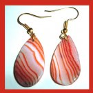 Orange White Brown Striped AGATE Teardrop Gemstone 10k Yellow Gold Hook Earrings