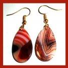 Orange Brown White AGATE Teardrop Gemstone 10k Yellow Gold Hook Earrings