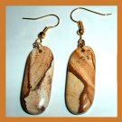 PICTURE JASPER Brown White Tan Oblong Gemstone 10k Yellow Gold Dangle Hook Earrings