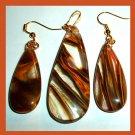 Brown Cherry QUARTZ Teardrop Gemstone 10k Yellow Gold Pendant & Dangle Hook Earrings Jewelry Set