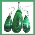 Green AGATE Teardrop Gemstone Sterling Silver Pendant and Hook Earrings Jewelry Set