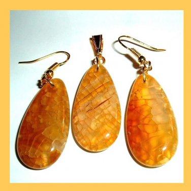Yellow Crackle QUARTZ Gemstone 10k Yellow Gold Pendant Hook Earrings Jewelry Set