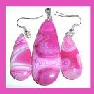 Pink AGATE Teardrop Gemstone Sterling Silver Pendant & Hook Earrings Jewelry Set